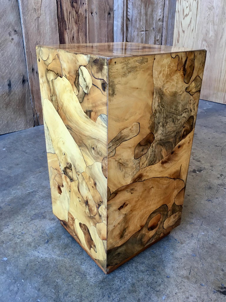 Nice burled wood column that can be used as a table or to display a sculpture.