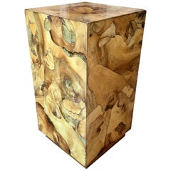 Modernist Burl Wood Pedestal