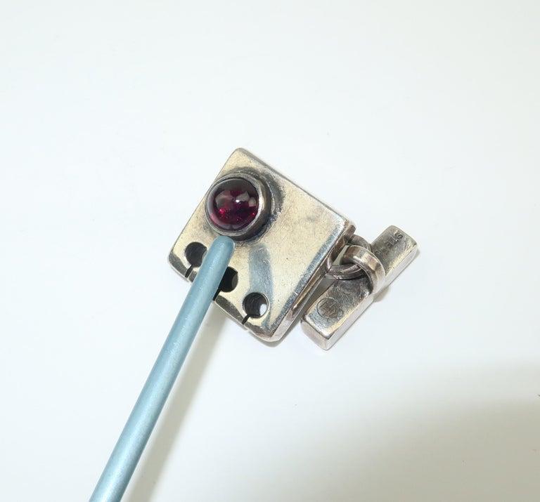 Modernist C.1950 Sam Kramer Sterling Silver & Garnet Cufflinks For Sale 8