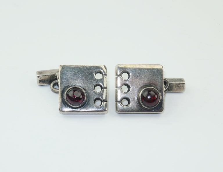 Women's or Men's Modernist C.1950 Sam Kramer Sterling Silver & Garnet Cufflinks For Sale