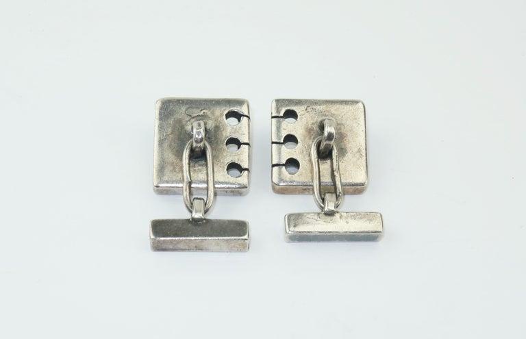 Modernist C.1950 Sam Kramer Sterling Silver & Garnet Cufflinks For Sale 1