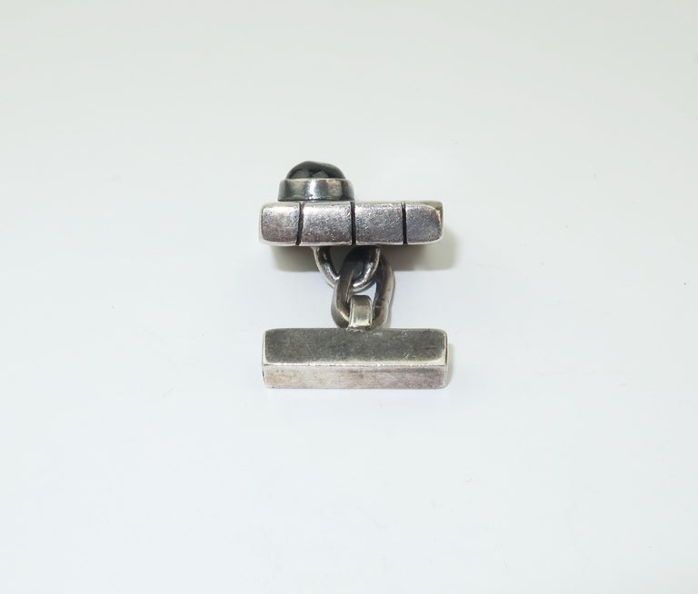 Modernist C.1950 Sam Kramer Sterling Silver & Garnet Cufflinks For Sale 2