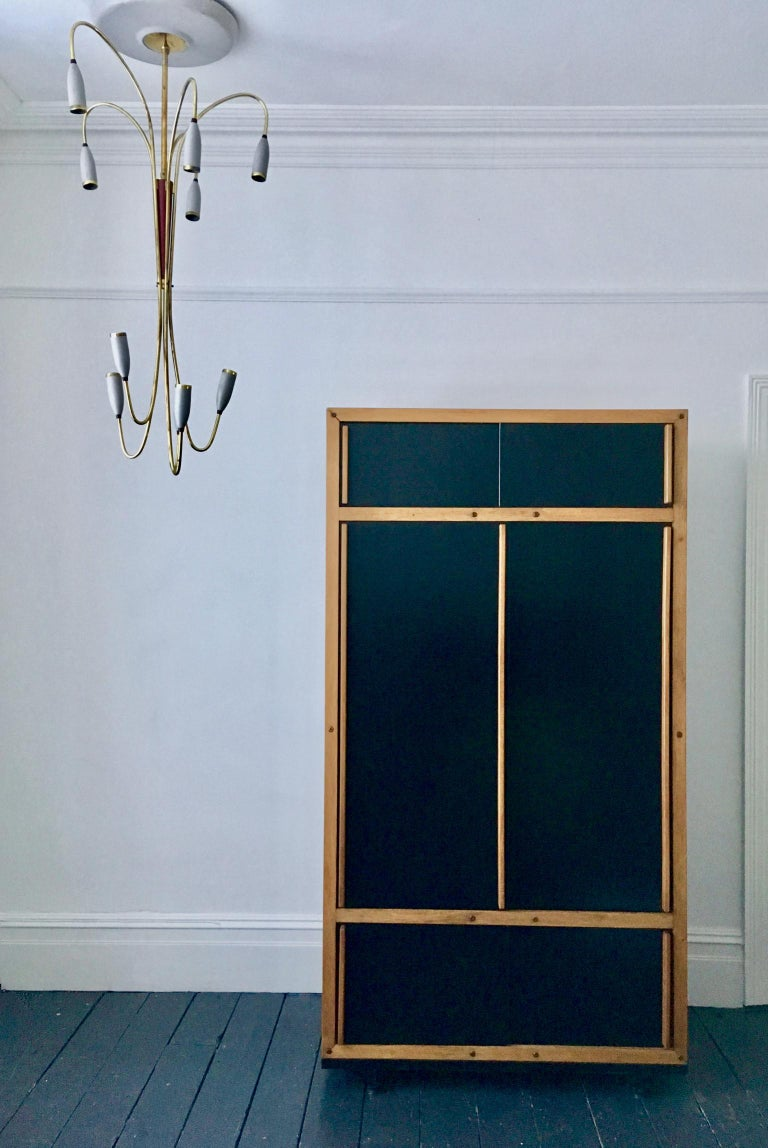 Modernist Cabinet or Armoire in Black by André Sornay, France Mid-20th Century For Sale 8
