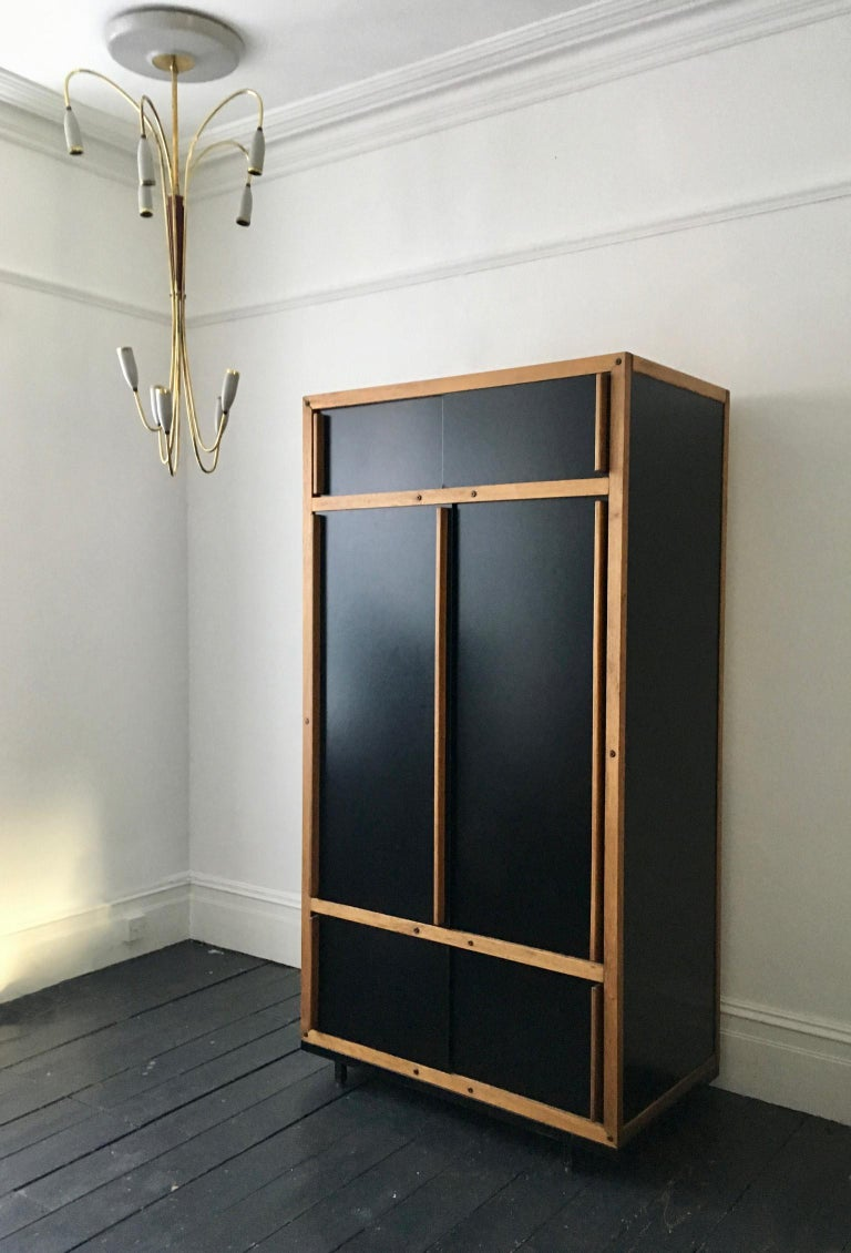Mid-Century Modern Modernist Cabinet or Armoire in Black by André Sornay, France Mid-20th Century For Sale