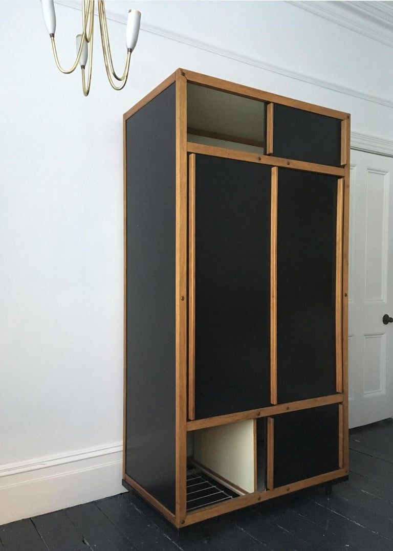 French Modernist Cabinet or Armoire in Black by André Sornay, France Mid-20th Century For Sale