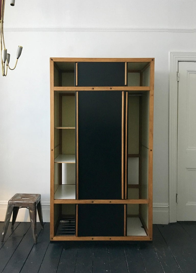Modernist Cabinet or Armoire in Black by André Sornay, France Mid-20th Century In Good Condition For Sale In London, GB