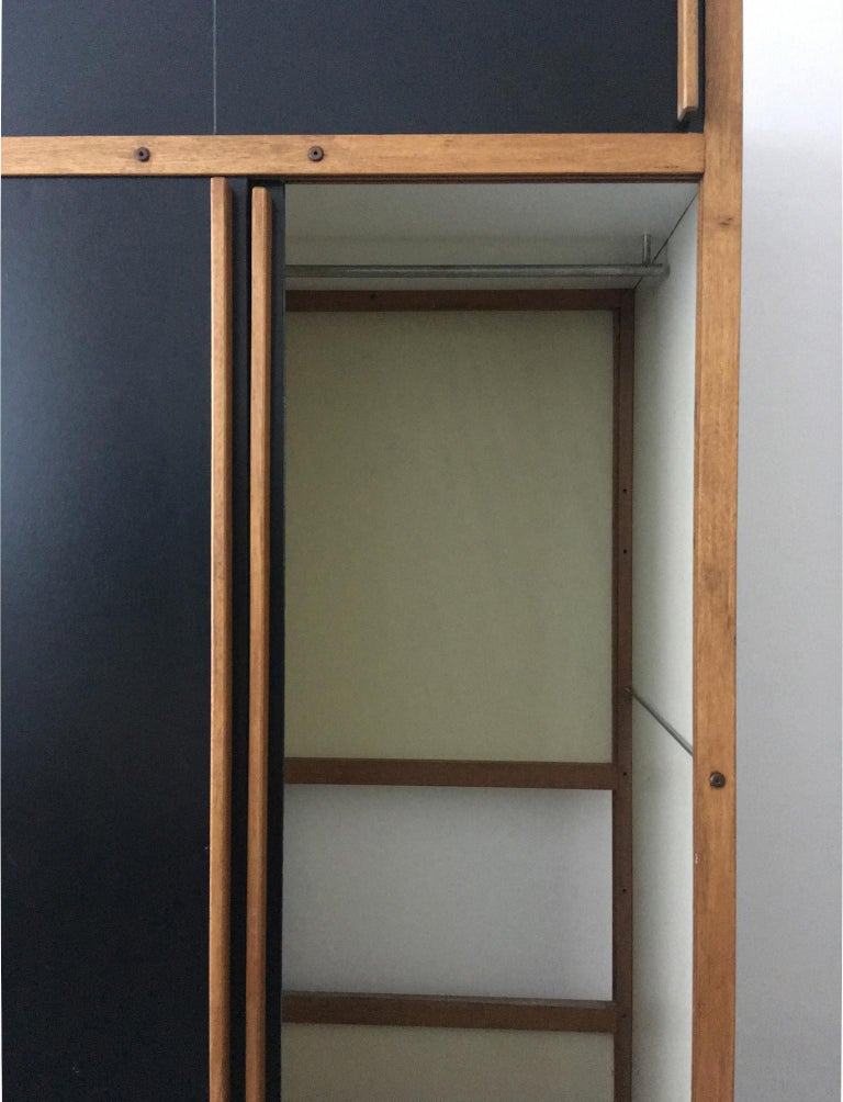 Modernist Cabinet or Armoire in Black by André Sornay, France Mid-20th Century For Sale 2