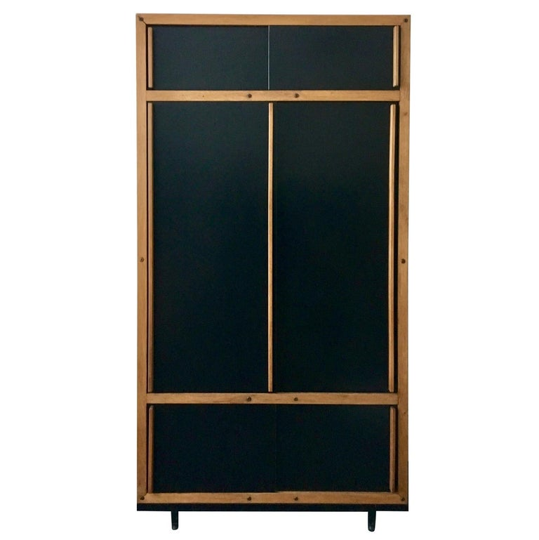 Modernist Cabinet or Armoire in Black by André Sornay, France Mid-20th Century For Sale