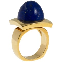 Modernist Cabochon Lapis and Gold Cocktail Ring
