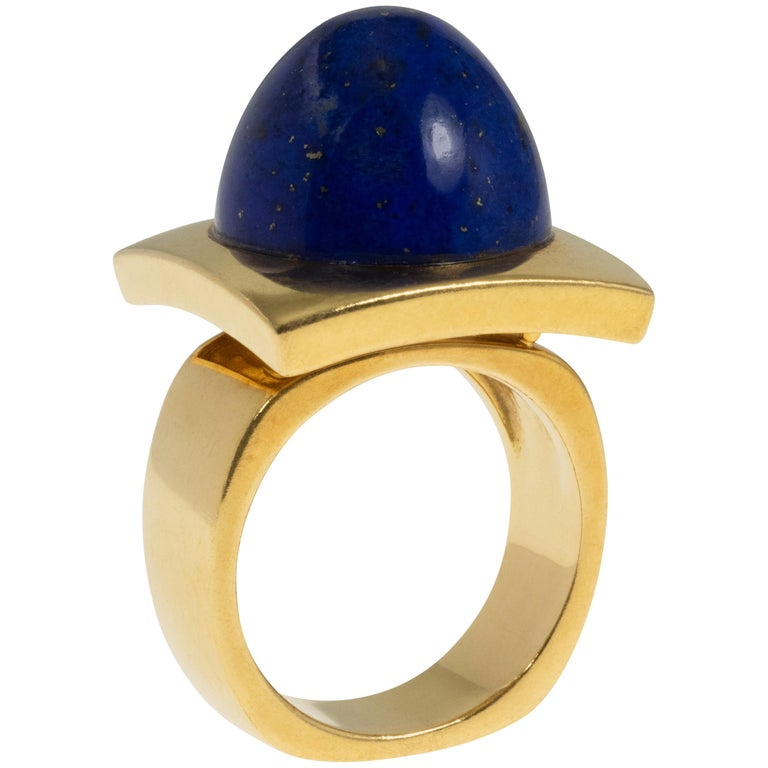 Modernist Cabochon Lapis and Gold Cocktail Ring For Sale
