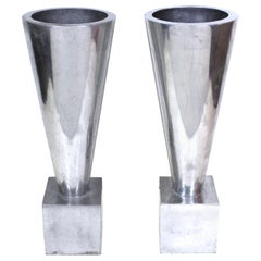 Modernist Cast Aluminum Conical Shape Urns