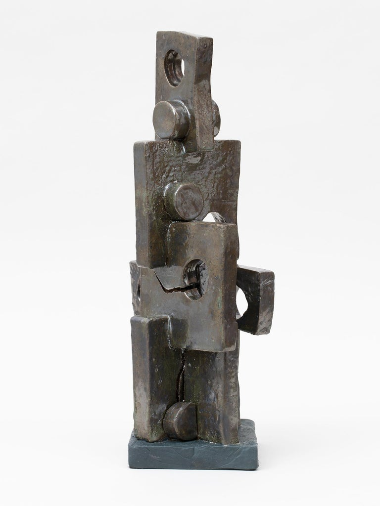 Modernist metallic bronze and green glazed ceramic sculpture by upstate New York based artist Judy Engel.