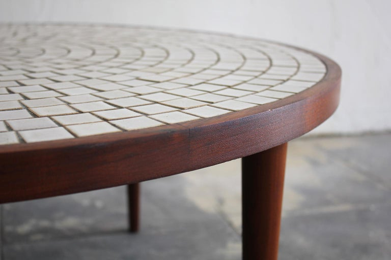 Modernist Ceramic Tile-Top Gordon & Jane Martz Walnut Round Coffee Table For Sale 2