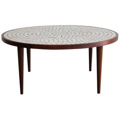 Modernist Ceramic Tile-Top Gordon & Jane Martz Walnut Round Coffee Table