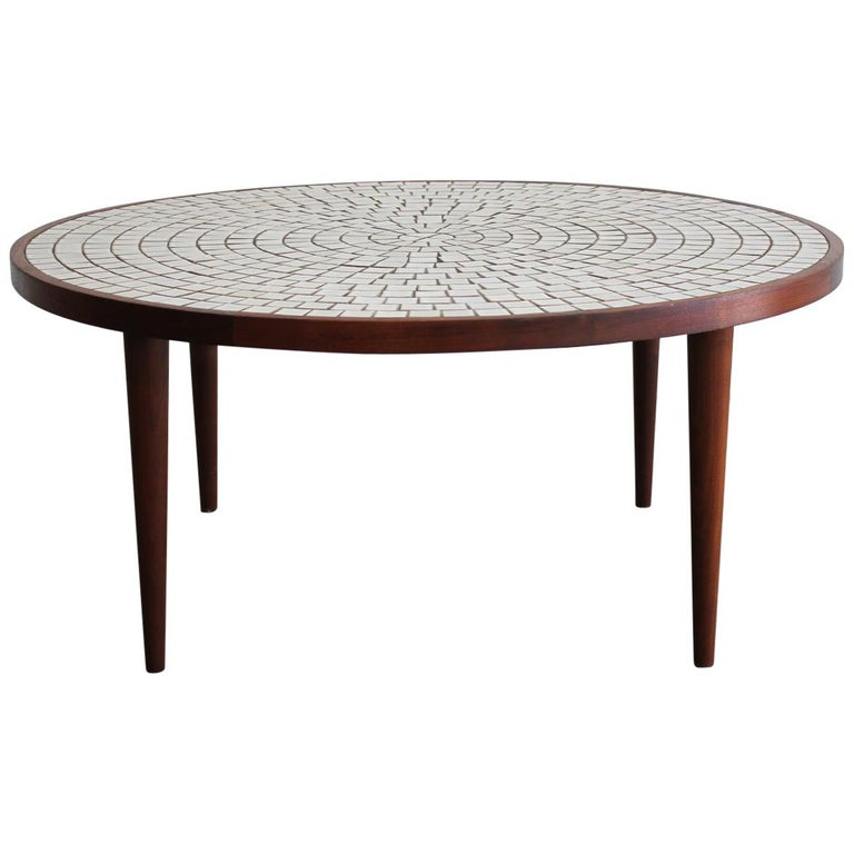 Modernist Ceramic Tile-Top Gordon & Jane Martz Walnut Round Coffee Table For Sale