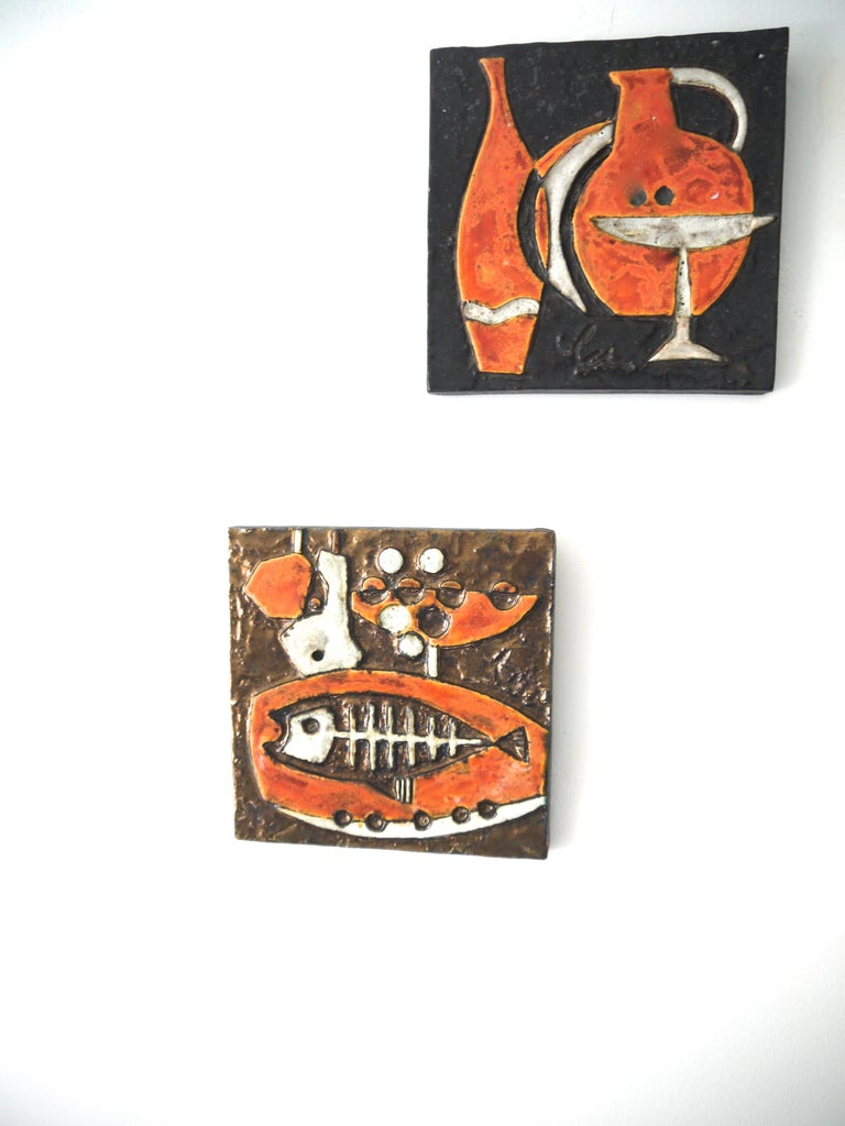 Modernist ceramic wall plaques - Set of three by Helmut Schaffenacker late 1950s. The complete series celebrates music, food and wine. 