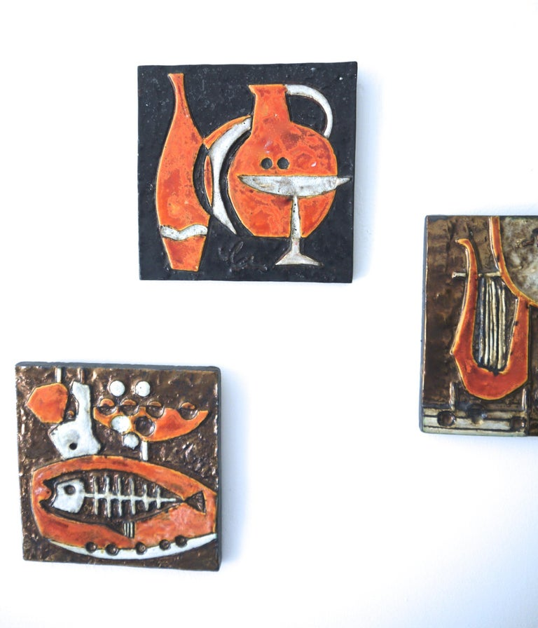 Brutalist Modernist Ceramic Wall Plaques, Set of Three by Helmut Schaffenacker Late 1950s For Sale