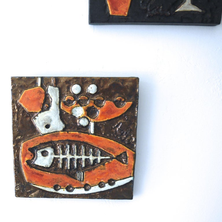 German Modernist Ceramic Wall Plaques, Set of Three by Helmut Schaffenacker Late 1950s For Sale