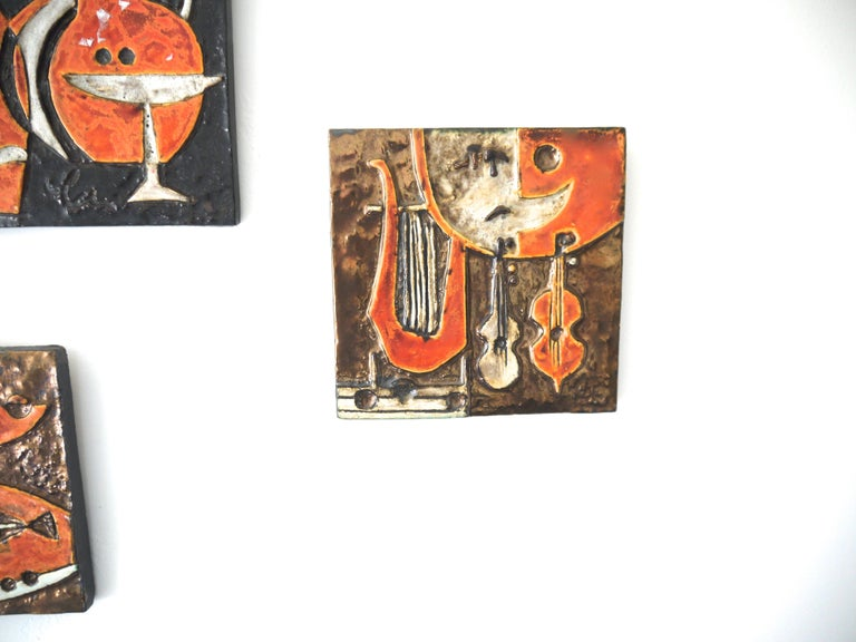 Modernist Ceramic Wall Plaques, Set of Three by Helmut Schaffenacker Late 1950s In Good Condition For Sale In Halstead, GB