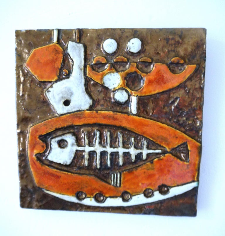 Modernist Ceramic Wall Plaques, Set of Three by Helmut Schaffenacker Late 1950s For Sale 1