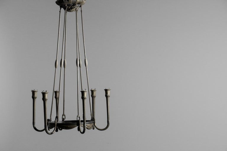 Modernist Chandelier Art Deco Bronze, 1930s In Fair Condition For Sale In Lyon, FR