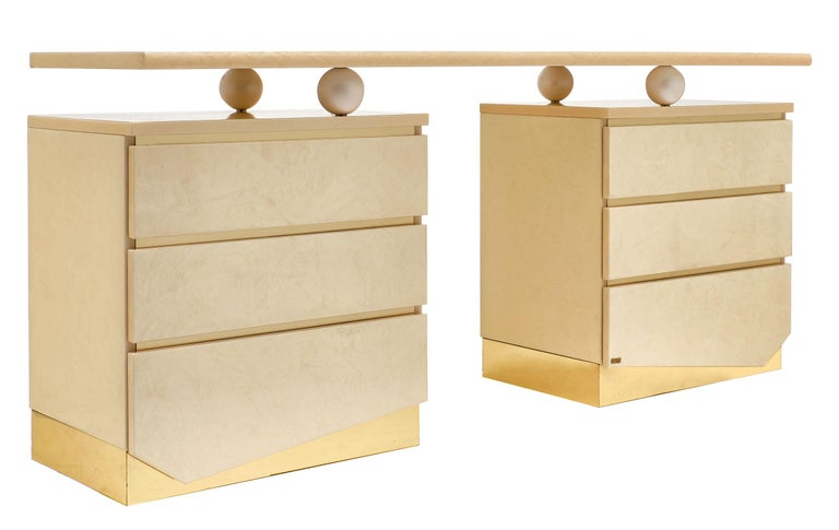 French Modernist Chest and Mirror by Eric Maville for Jean-Claude Mahey For Sale