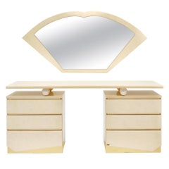 Modernist Chest and Mirror by Eric Maville for Jean-Claude Mahey