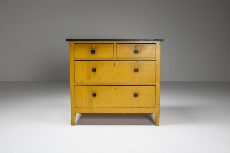 Modernist Yellow chest of drawers, Hendrik Wouda, H. Pander & Zonen, Netherlands, 1924.  Painted pine, black marble top.  The Interbellum, the period between the two World Wars, was a time when culture Dutch blossomed. Architects, designers and