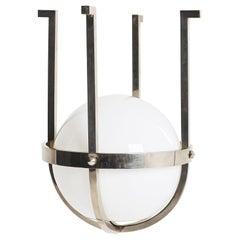 Modernist Chrome and Glass Globe Ceiling Light