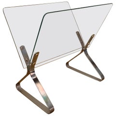 Modernist Chrome and Glass Magazine Holder by Milo Baughman