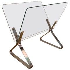 Modernist Chrome and Glass Magazine Holder
