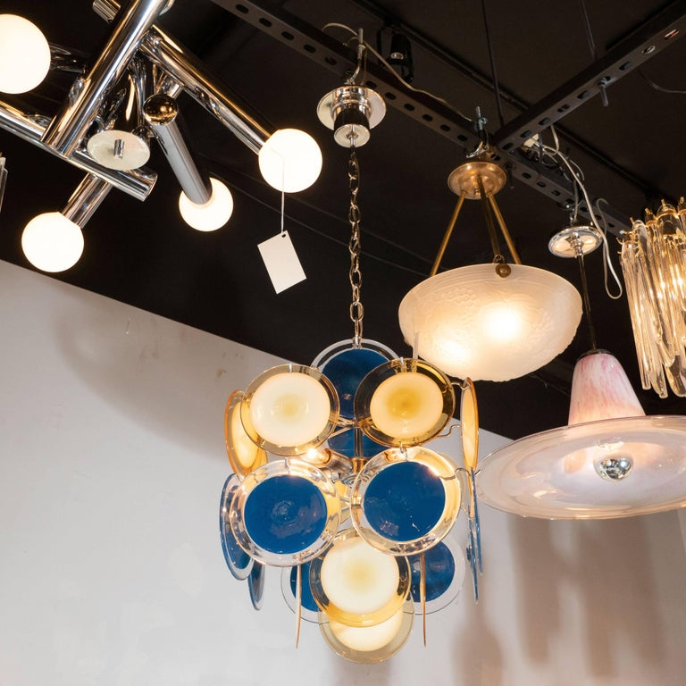 Modernist Chrome Chandelier in Handblown Murano Cerulean & Yellow Vistosi Discs In Excellent Condition For Sale In New York, NY