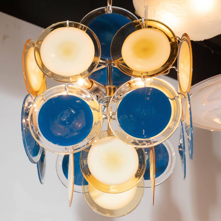 Late 20th Century Modernist Chrome Chandelier in Handblown Murano Cerulean & Yellow Vistosi Discs For Sale