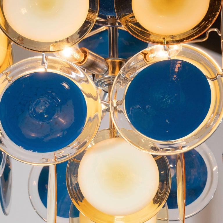 Modernist Chrome Chandelier in Handblown Murano Cerulean & Yellow Vistosi Discs For Sale 1