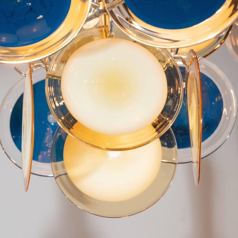 Modernist Chrome Chandelier in Handblown Murano Cerulean & Yellow Vistosi Discs For Sale 2