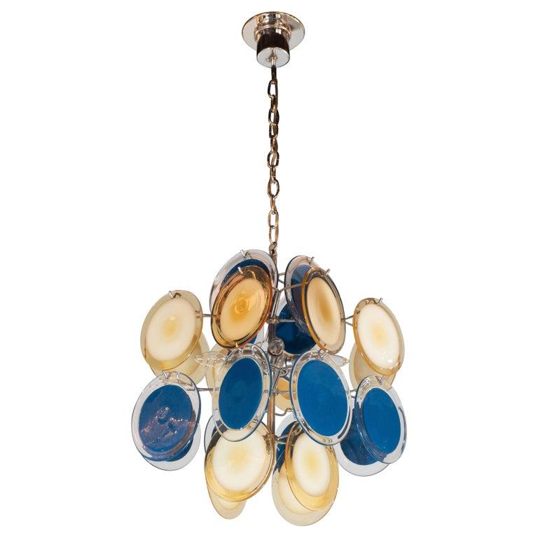 Modernist Chrome Chandelier in Handblown Murano Cerulean & Yellow Vistosi Discs For Sale