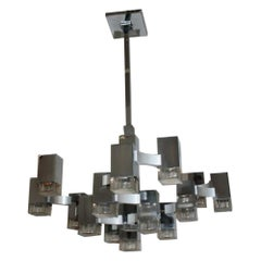 Modernist Chrome Gaetano Sciolari Ceiling Lamp 1970s 17-Light