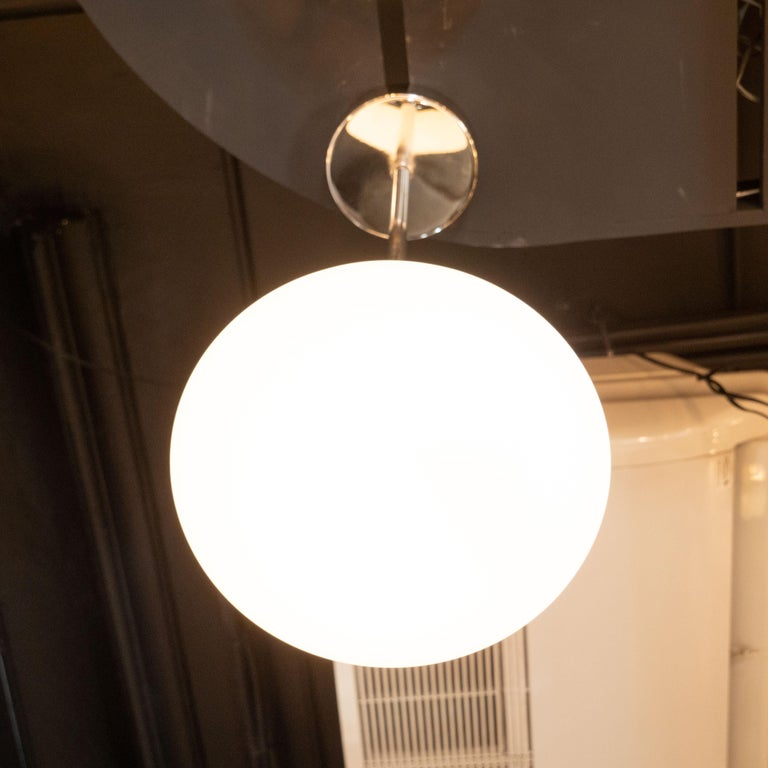 Milk Glass Modernist Chrome Pendant with Opaque White Glass Shade by High Style Deco For Sale