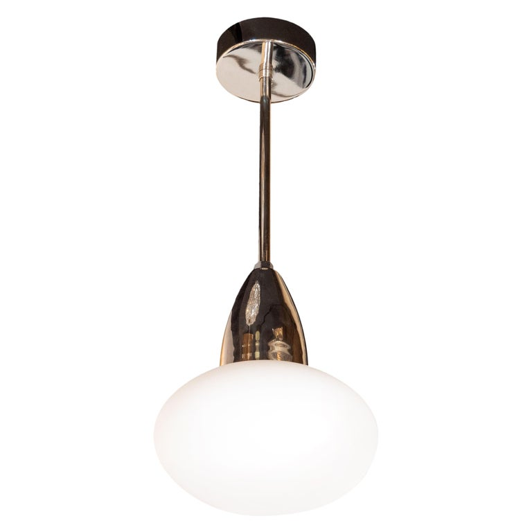 Modernist Chrome Pendant with Opaque White Glass Shade by High Style Deco For Sale