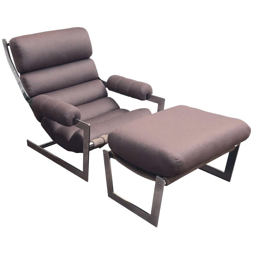 Modernist Chrome Sling Chair and Ottoman in Brown Cashmere, c. 1970s