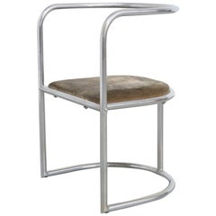 Modernist Chromed Steel Tubular Chair, Belgium