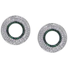 Ralph Masri Modernist Circular Diamond and Emerald Earrings