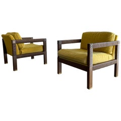 Modernist Club Chairs, Brass and Rush Cord