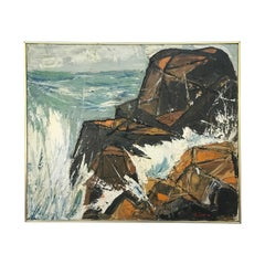 Modernist Coastal Landscape Impasto Rock Ledge Painting Signed A. Seide, 1966