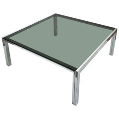 Modernist Coffee Table, Chrome and Green Tinted Glass, 1960s