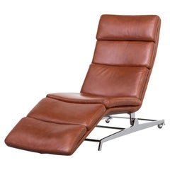 Modernist Cognac Leather Chaise Lounge with a Beautiful Tiltable Chrome Base
