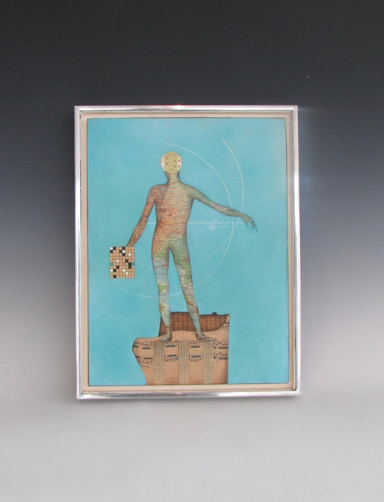 Nicely done collage. cut out map man standing on sheet music holding game board. All on blue painted sky blue masonite. Signed Steiner (?) '62.