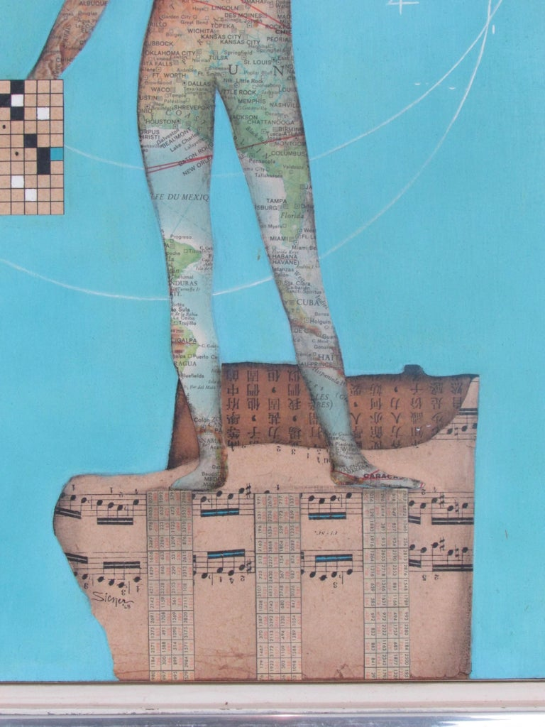 American Modernist Collage Art Map Man on Musical Score with Blue Field Dated 1962 For Sale