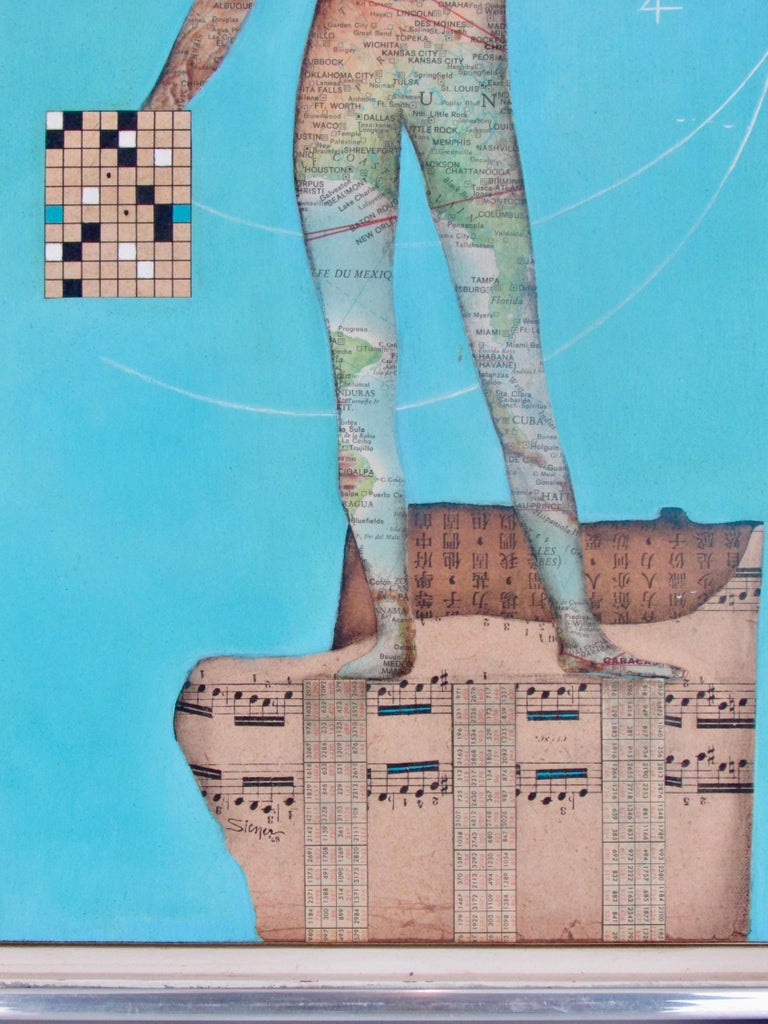 Hand-Painted Modernist Collage Art Map Man on Musical Score with Blue Field Dated 1962 For Sale