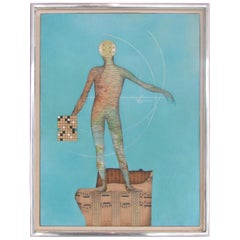 Modernist Collage Art Map Man on Musical Score with Blue Field Dated 1962